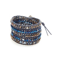 Nakamol Mixed Crystal Five Times Blue Leather Wrap Bracelet