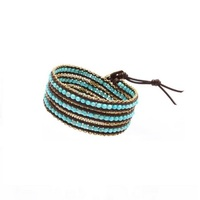 Nakamol Mixed Crystals Turquoise Dark Brown Leather Wrap Bracelet