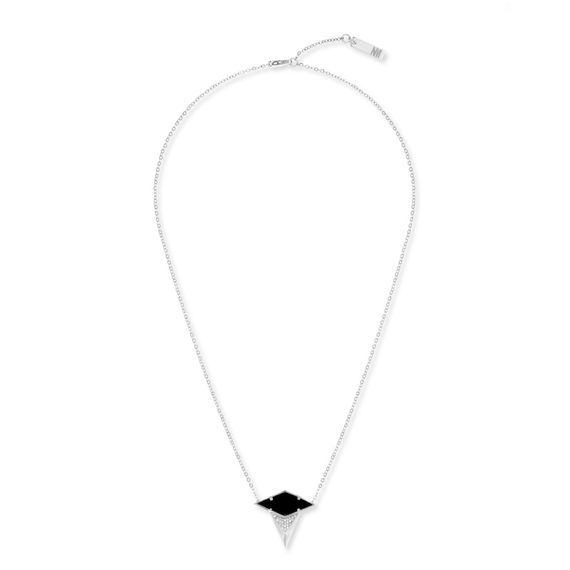 Nicole Meng Asymmetric Black Agate Necklace in Platinum