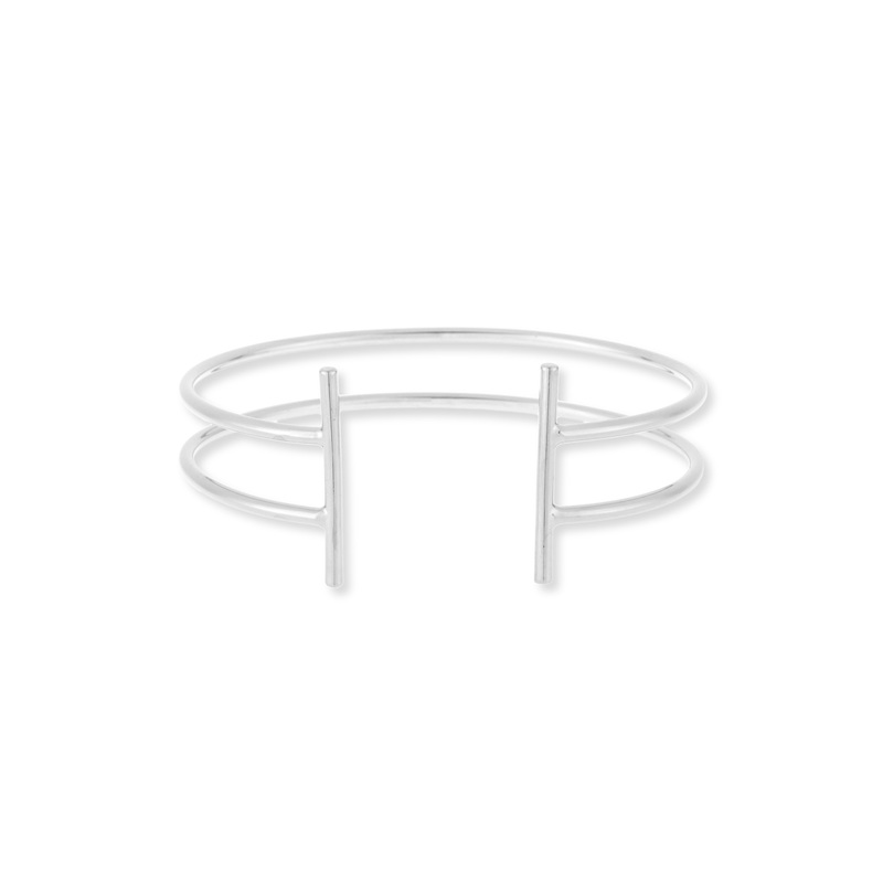 Jill Michael Double Bar Cuff in Silver