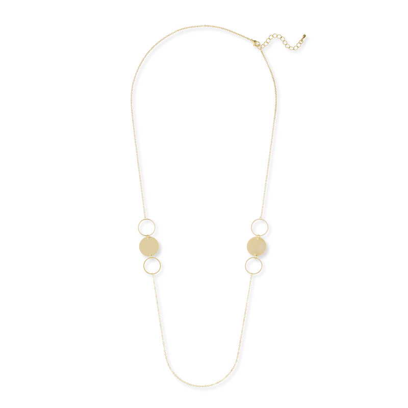 Jill Michael Long Circles Necklace in Gold