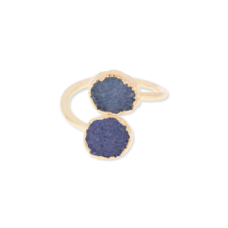 Leslie Francesca Dual Druzy Ring in Blue
