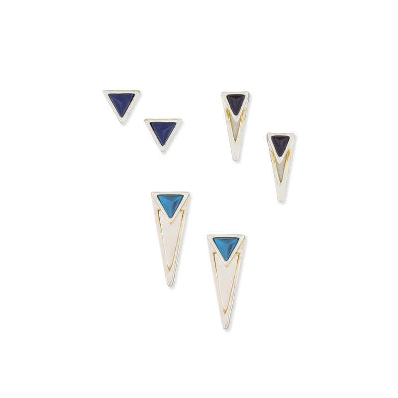 House of Harlow 1960 Triangle Triad Earring Set