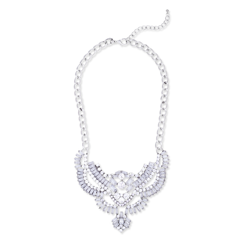 Urban Gem Delia Baguette Crystal Bib Necklace in Silver