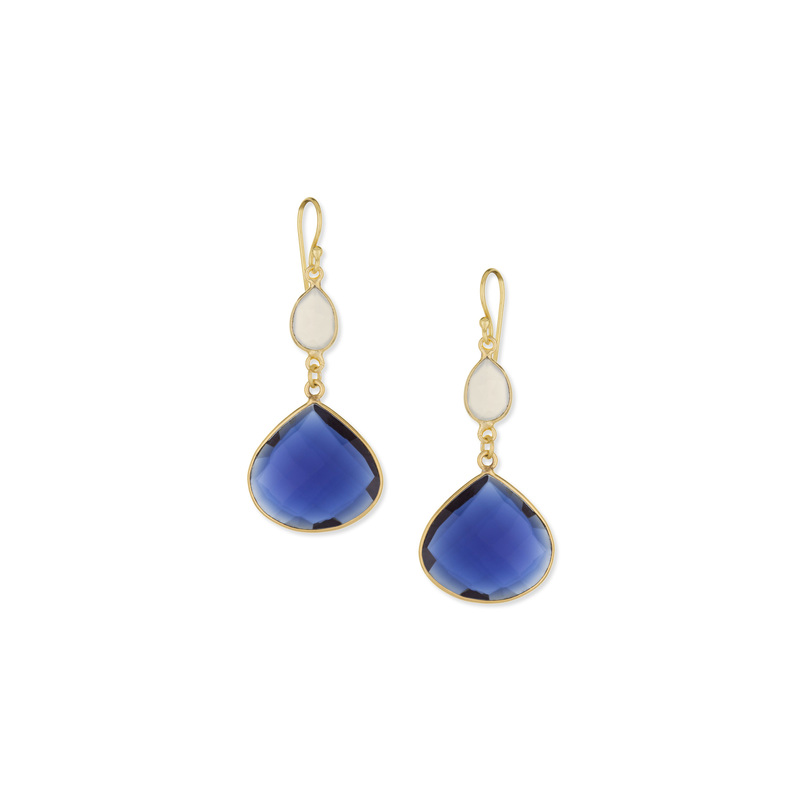 Ashiana London Two Stone Drop Earrings in Grey Chalcedony and Iolite