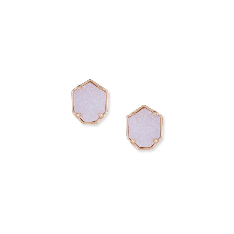 Kendra Scott Logan Earring in Rose Gold Iridescent Drusy