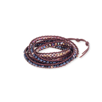 Nakamol Mixed Crystal Five Times Wine Leather Wrap Bracelet