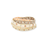 Nakamol Luminous Five Times Wrap Bracelet in Cream Crystal