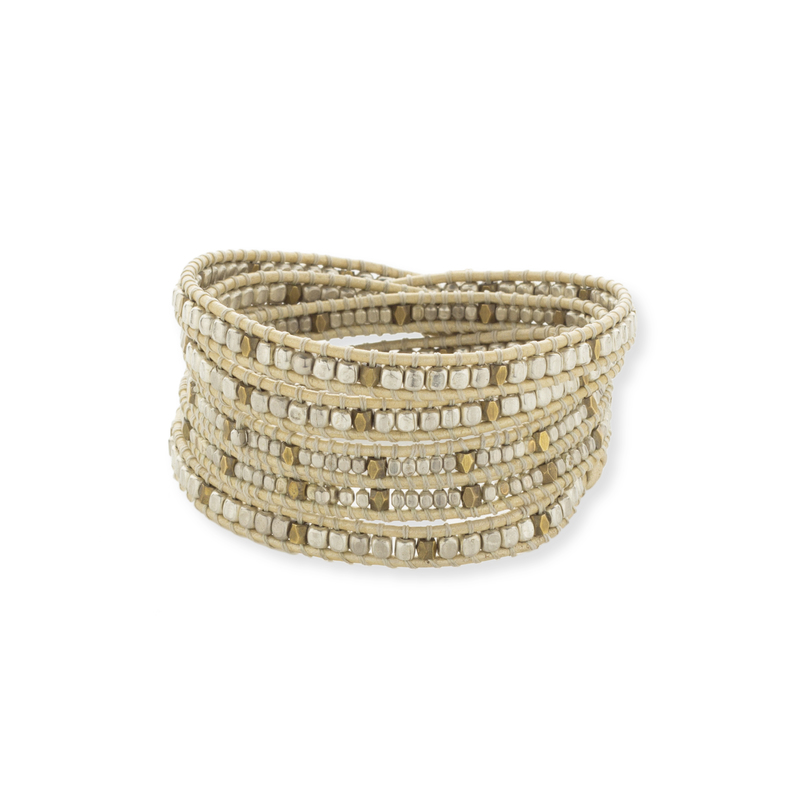 Nakamol Cream & Gold Wrap Bracelet