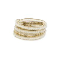 Nakamol Cream, Gold & Tan Wrap Bracelet