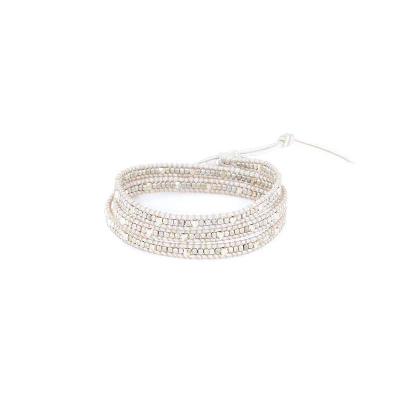 Nakamol Cream & Silver Wrap Bracelet