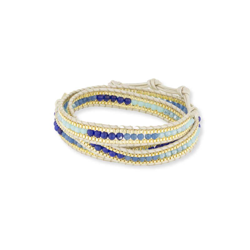 Nakamol Lapis and Gold Wrap Bracelet