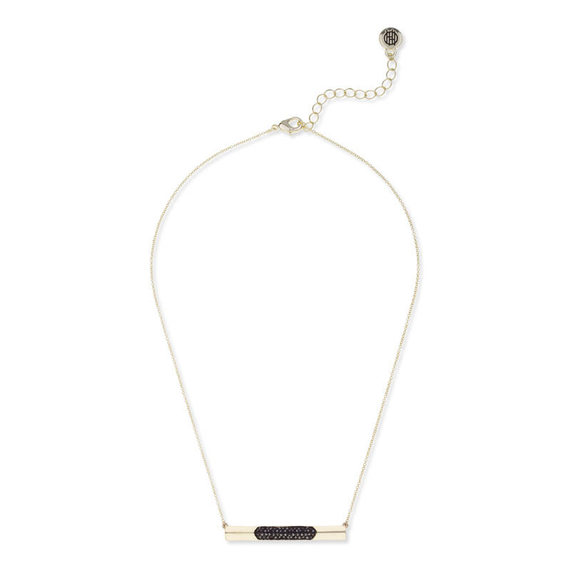 House of Harlow 1960 Modern Revival Bar Necklace in Hematite