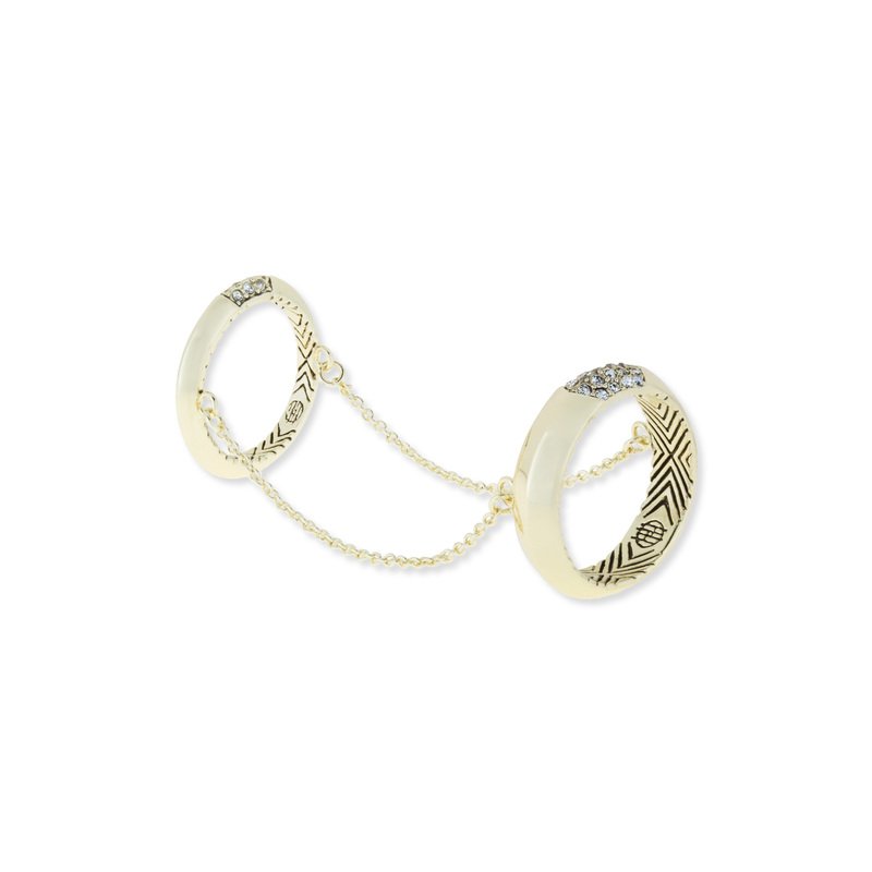 House of Harlow 1960 Modern Revival Chain Ring in White