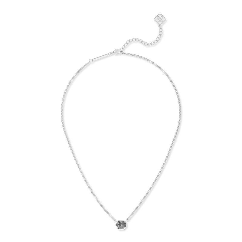 Kendra Scott Mabel Necklace in Silver Platinum Drusy