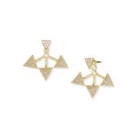 Wanderlust + Co Tri-Pyramid Ear Jacket in Gold