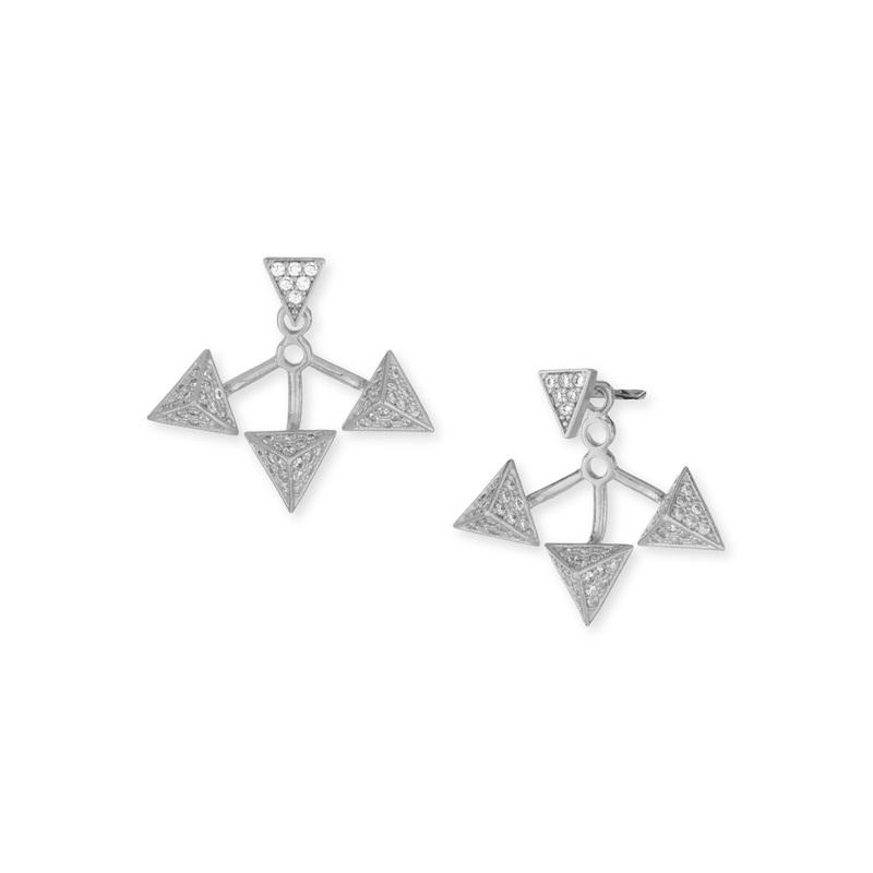 Wanderlust + Co Tri-Pyramid Ear Jacket in Silver