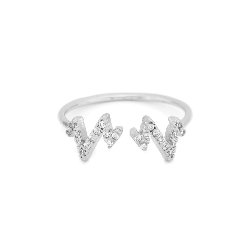 Wanderlust + Co Heartbeat Crystal Silver Ring