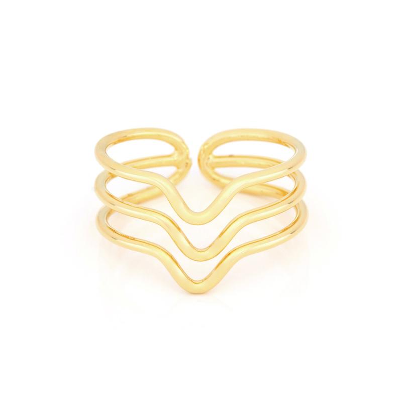 Wanderlust + Co Triple-Chevron Wrap Gold Ring