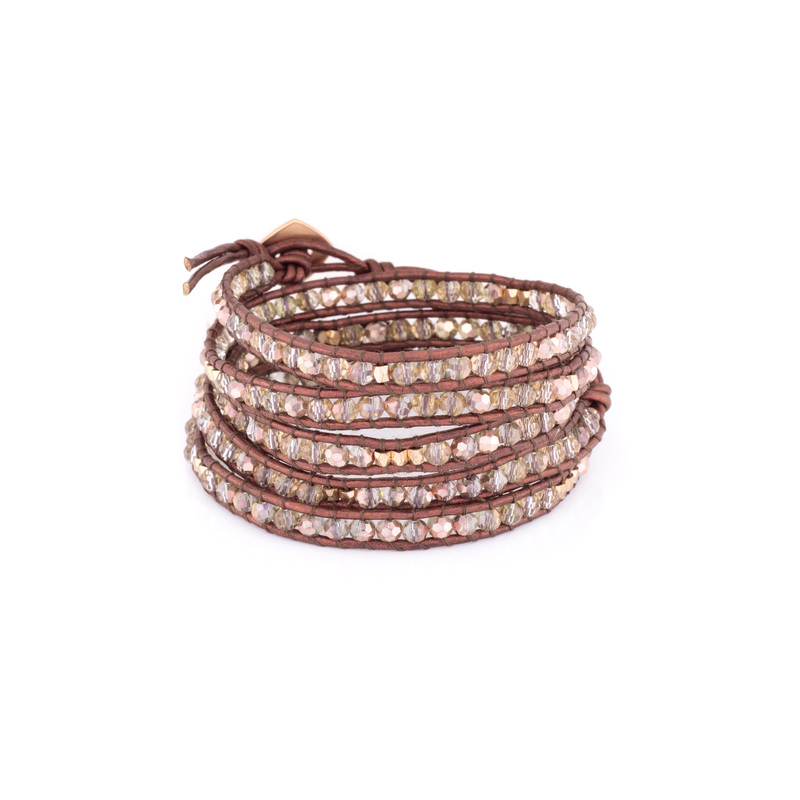 Nakamol Burgundy Crystal Chain Five Times Wrap Bracelet