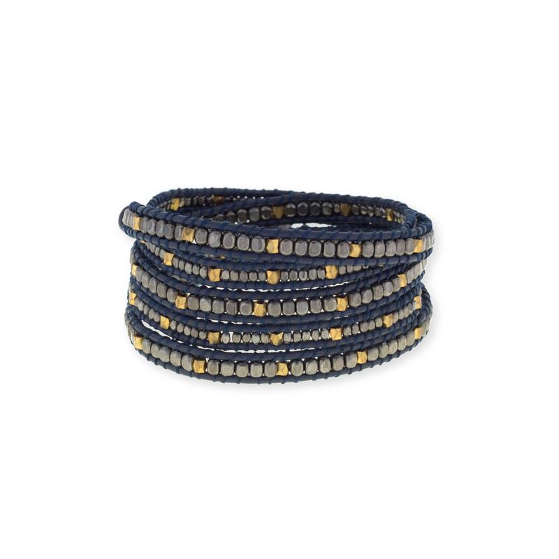 Nakamol Bronze & Gunmetal Navy Blue Wrap Bracelet