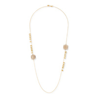 Ashiana London Square and Hammered Long Necklace in Grey
