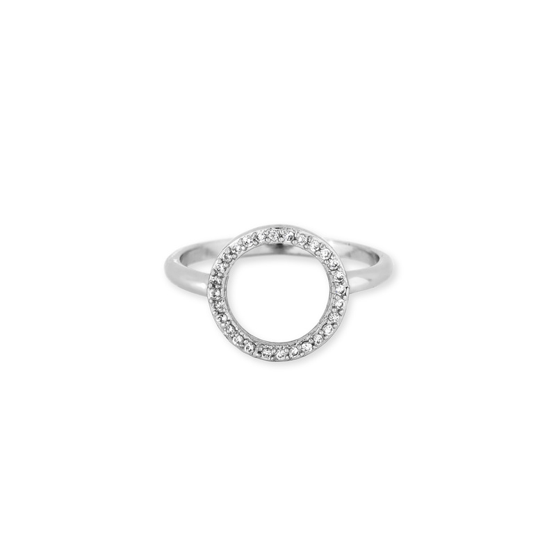 Jules Smith Delicate Pavé Circle Ring in Silver