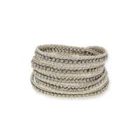 Nakamol Silver Crystal Chain Five Times Wrap Bracelet