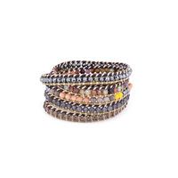 Nakamol Mixed Crystals Five Times Brown Leather Wrap Bracelet