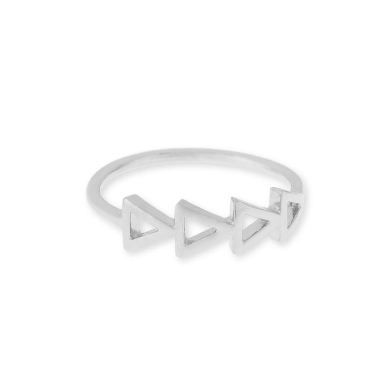 Sophie Harper Multi Triangle Ring in Silver
