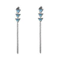 Wanderlust + Co Dusk To Dawn  & Turquoise Chain Earrings in Silver