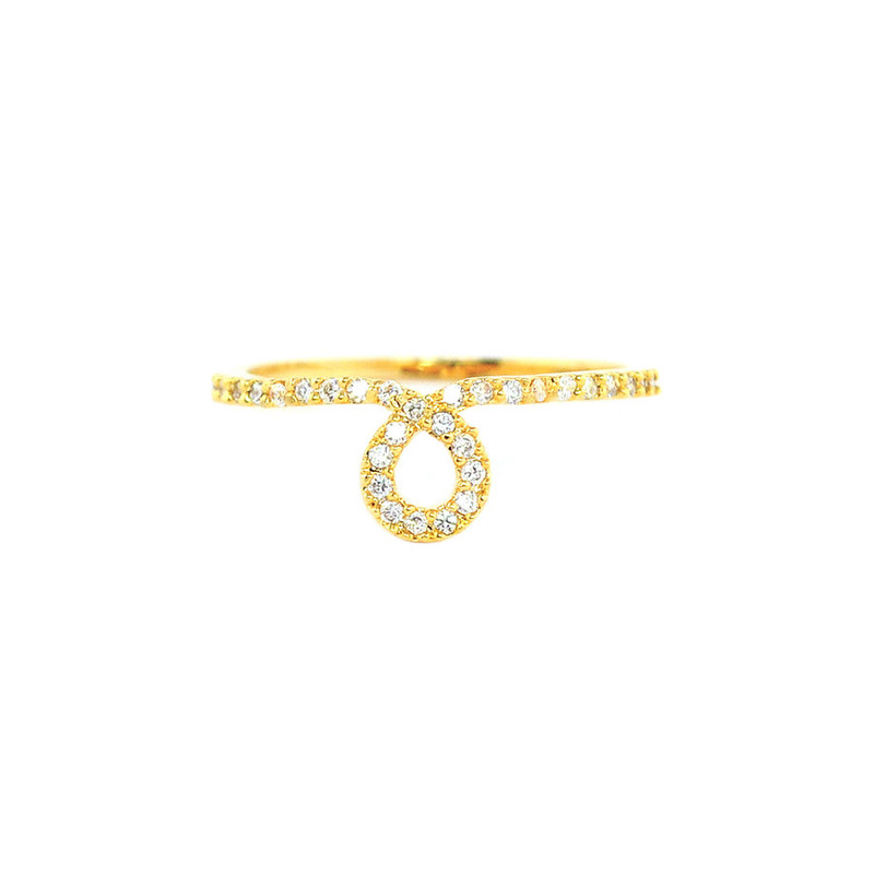 Wanderlust + Co Loop Crystal Gold Ring