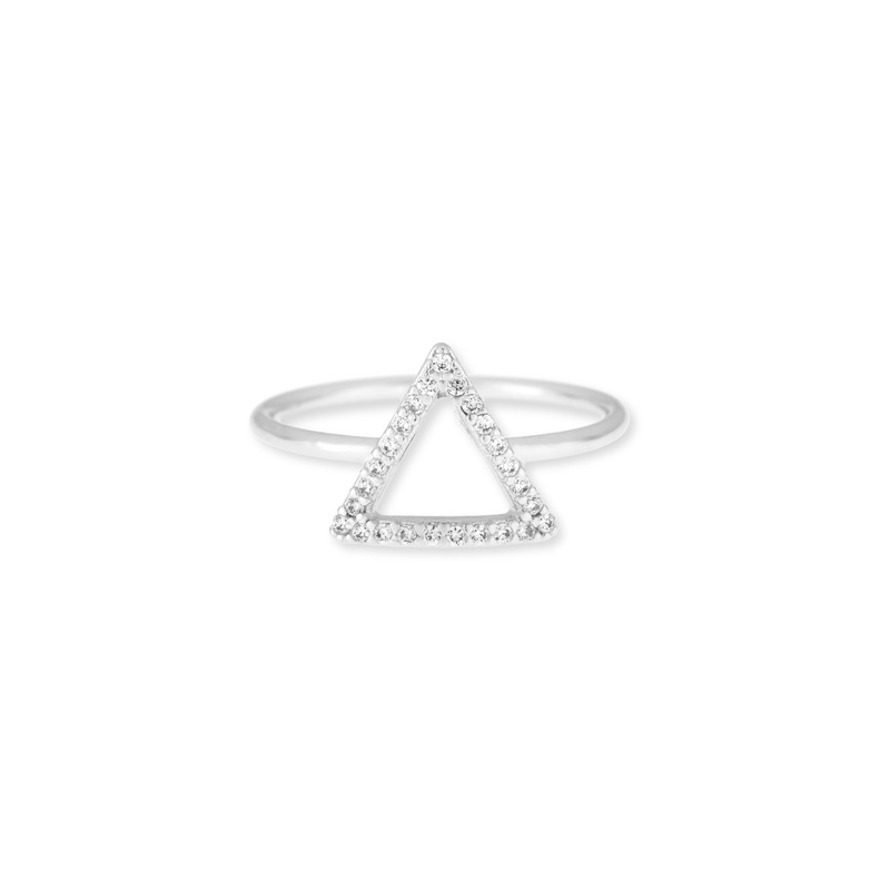 Wanderlust + Co Frame-Tri Crystal Silver Ring