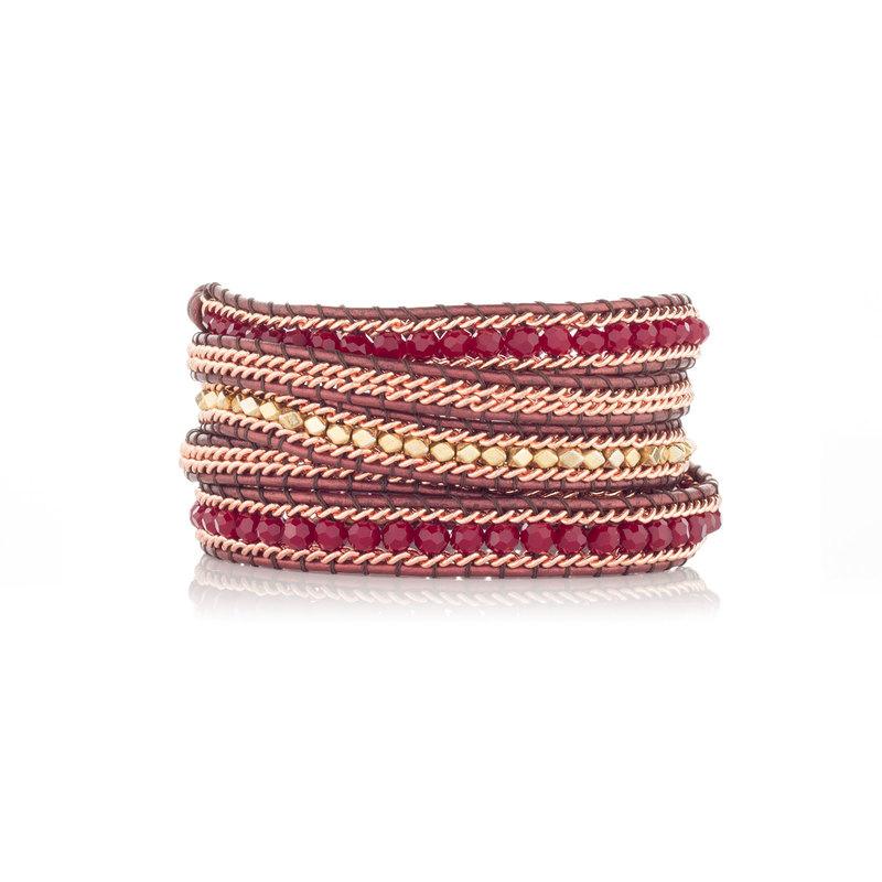 Nakamol Burgundy & Rose Gold Five Times Wrap Bracelet