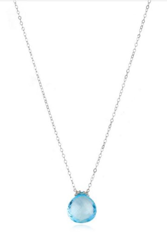 Amelia Rose Emily Necklace in Silver & Sky Blue Topaz