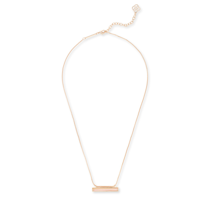 Kendra Scott Eleanor Rose Gold Necklace in Brown Mother of Pearl