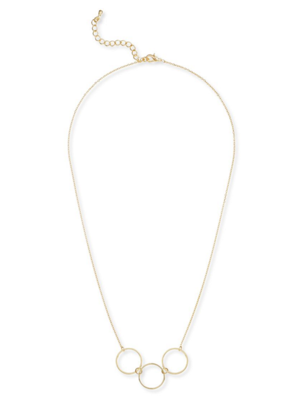 Jill Michael Triple Ring Necklace in Gold