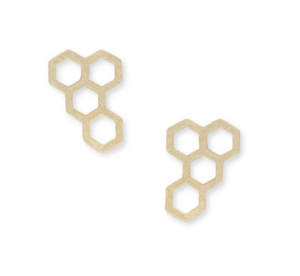 Jill Michael Honeycomb Stud Earrings in Gold