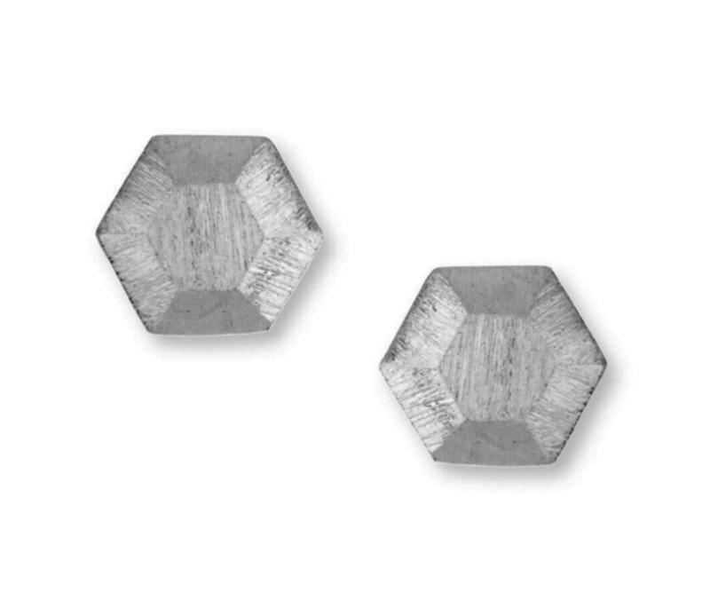 Jill Michael Dome Hex Studs in Silver