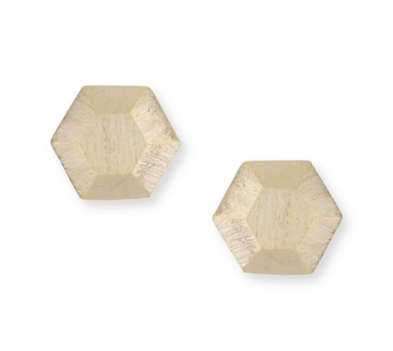 Jill Michael Dome Hex Studs in Gold