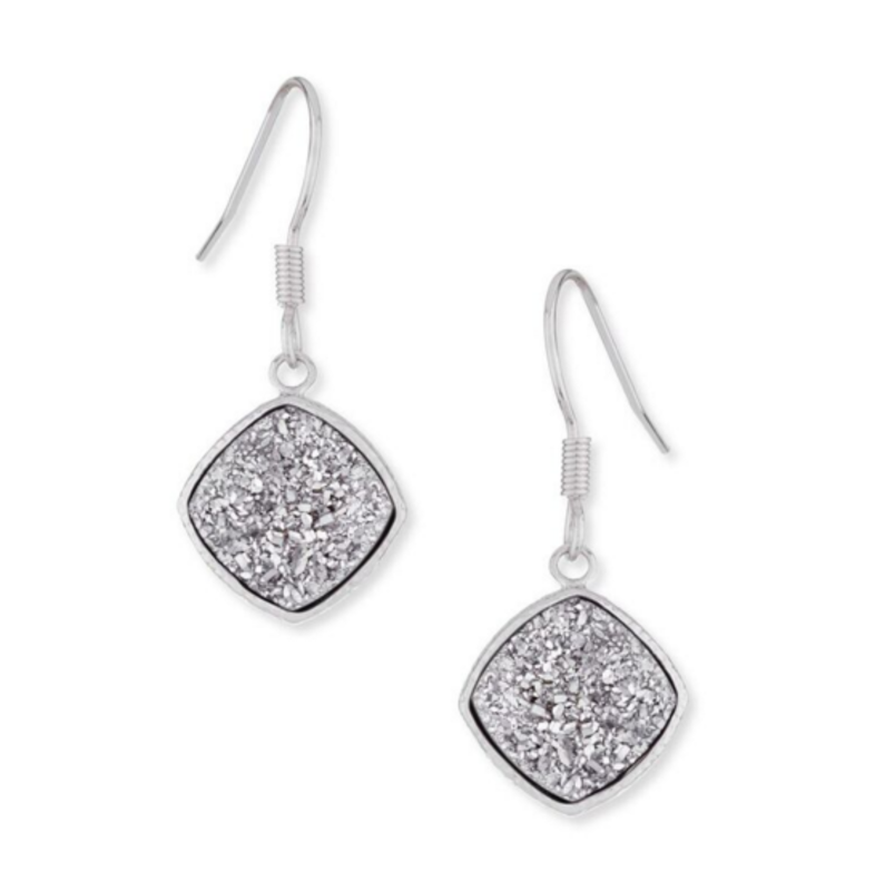 Elise M Phoebe Earrings in Silver & Silver Druzy