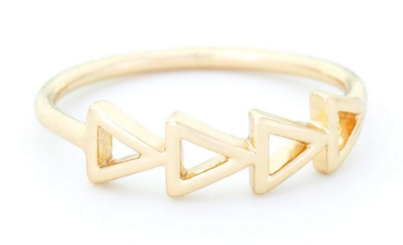 Sophie Harper Multi Triangle Ring in Gold
