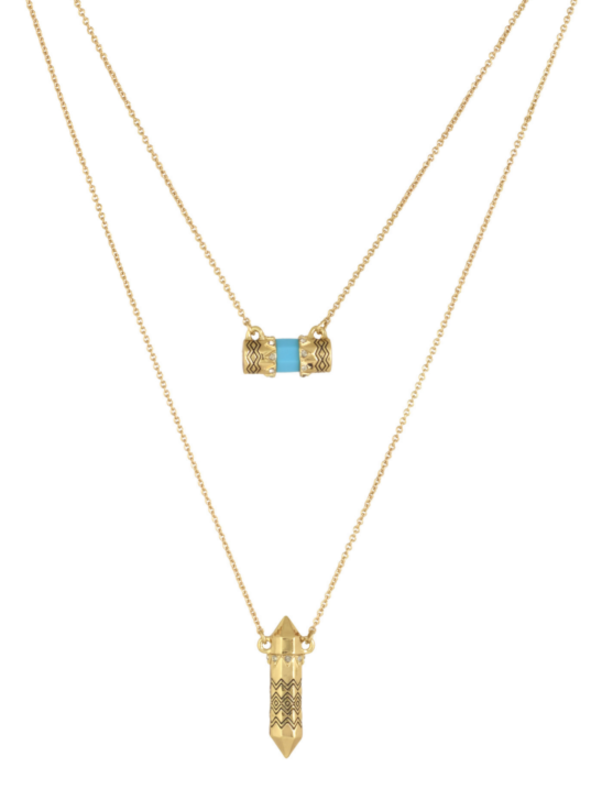 House of Harlow 1960 Prana Double Pendant Necklace in Turquoise