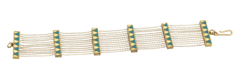 House of Harlow 1960 Peak to Peak Chain Bracelet in Gold and Turquoise
