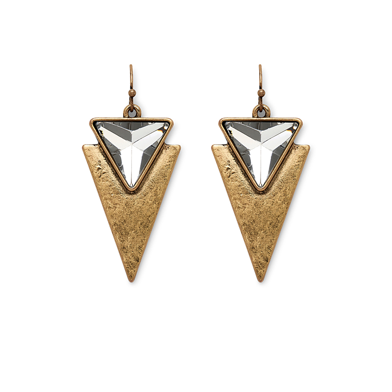Jenny Bird Flagstaff Earrings in Gold and Clear