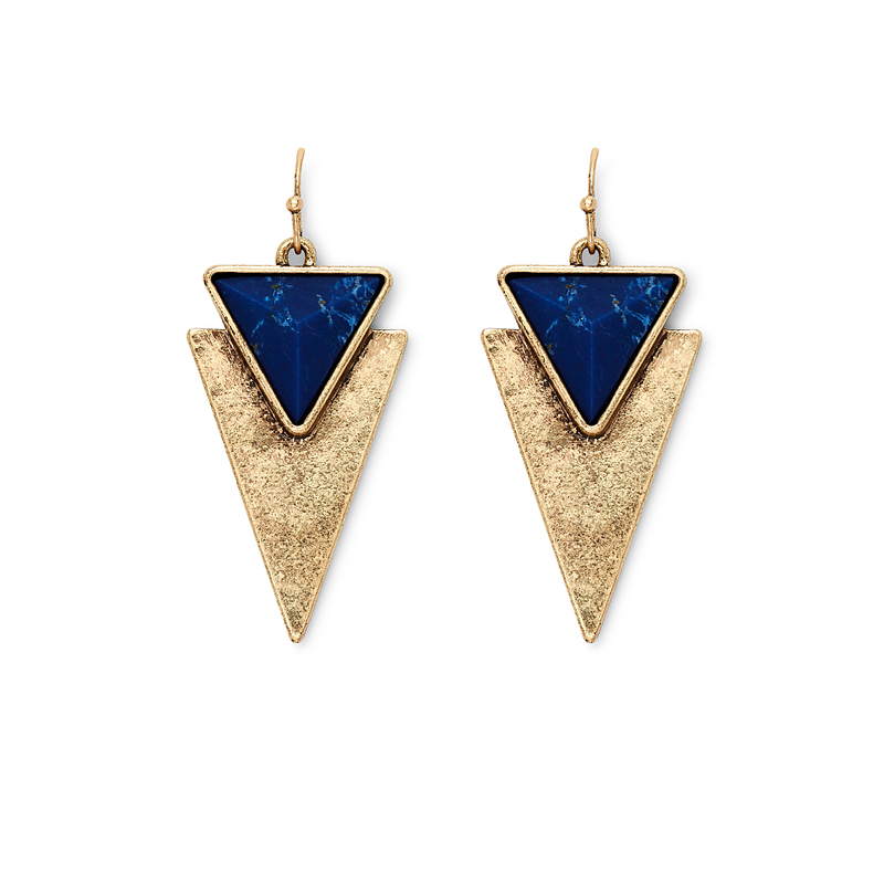 Jenny Bird Flagstaff Earrings in Gold and Lapis