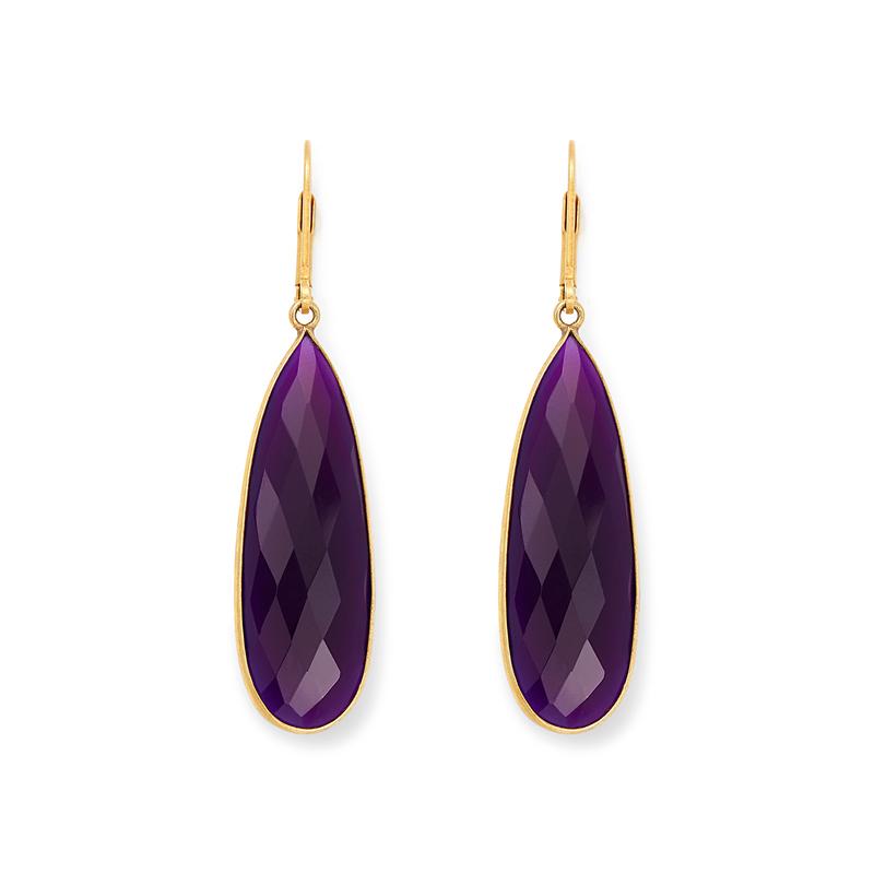 Olivia & Grace Lorena Earrings in Purple Chalcedony