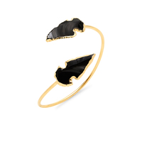 Robyn Rhodes Agate Spear Cuff in Black