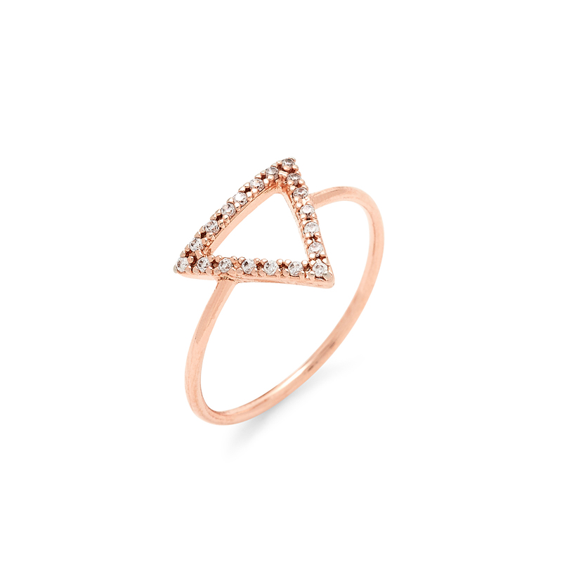 Wanderlust + Co Frame-Tri Crystal Rose Gold Ring