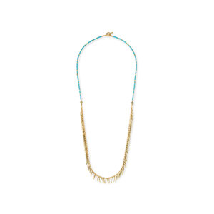 Jenny Bird Palm Rope Necklace in Turquoise